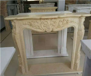 white fireplace carving china