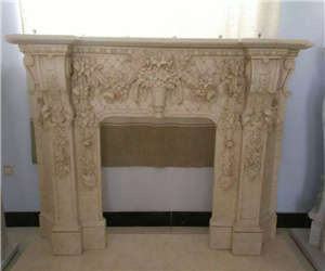 black fireplace carving
